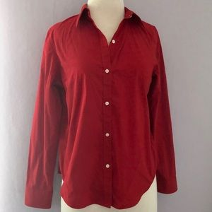 EUC Chaps Deep Red Cotton Button Down Shirt